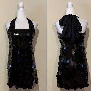 NWT Alice + Olivia Sequin Silk Bow Halter Dress